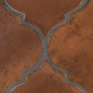 A red terra cotta estela tile by Jeffrey Court.