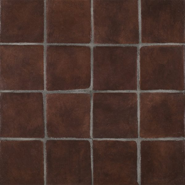 A red terra cotta stained insert tile by Jeffrey Court.