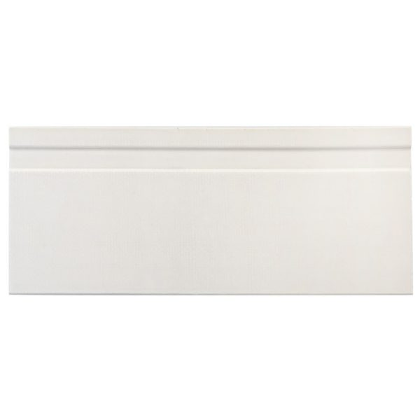 A white ceramic architectural mouldings base tile by Jeffrey Court.