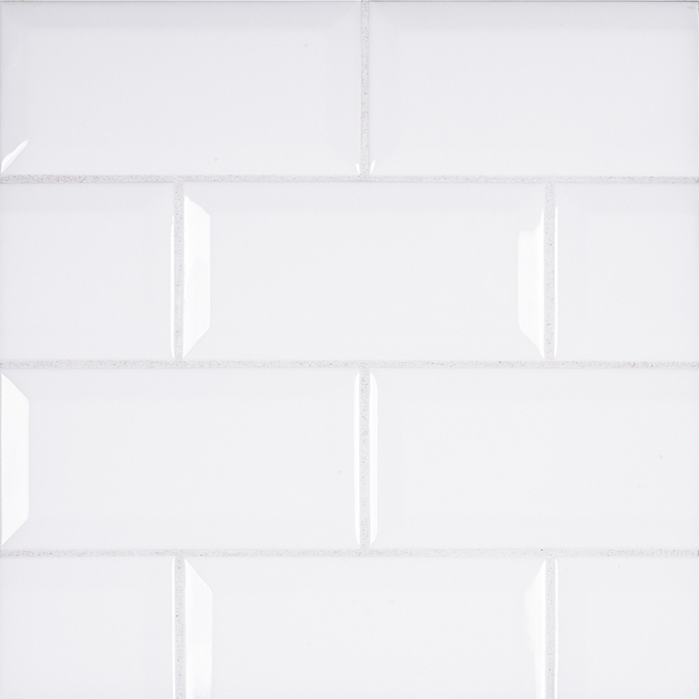 3 Quot X 6 Quot Ceramic Beveled Field Tile White Jeffrey Court