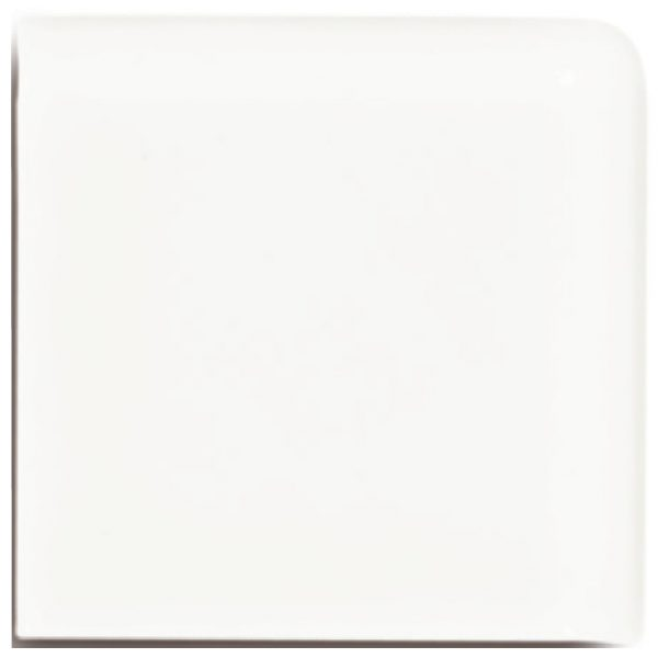 A white ceramic trim double bullnose tile by Jeffrey Court.