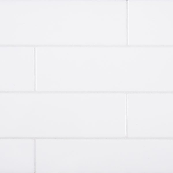 A white ceramic field tile by Jeffrey Court.