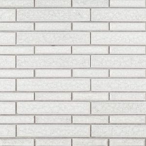 A white ceramic mosaic passion glass tile by Jeffrey Court.