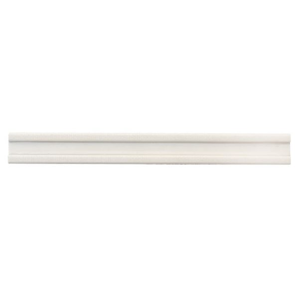 A white ceramic architectural mouldings rail tile by Jeffrey Court.