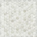 "A white glass mosaic 3/4"" penny round tile by Jeffrey Court."