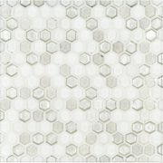"""A white glass mosaic 5/8"""" hex tile by Jeffrey Court."""