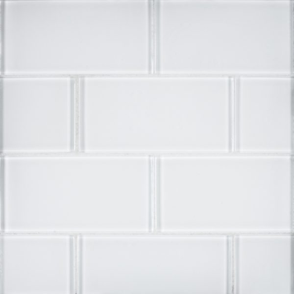 A white glass field tile by Jeffrey Court.