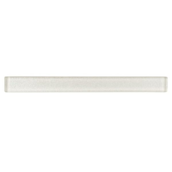 A white glass architectural mouldings liner tile by Jeffrey Court.
