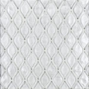 A white glass mosaic petal glass tile by Jeffrey Court.