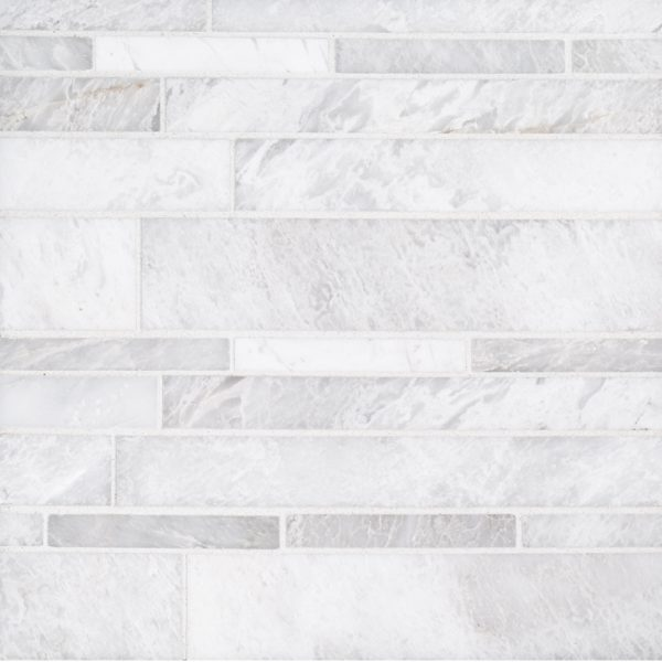 A white natural stone mosaic mesa tile by Jeffrey Court.