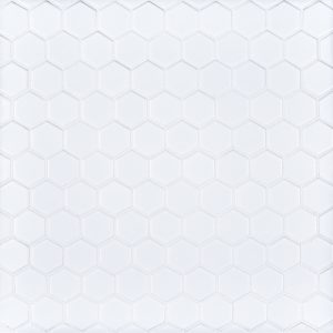 "A white porcelain mosaic 1"" hexagon tile by Jeffrey Court."