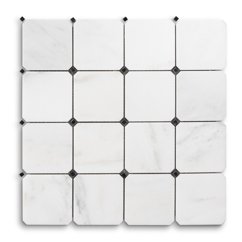 1125 x 1125 natural stone octagon black dot white jeffrey 15 classic statuario chapter fifteen octagon black dot dailygadgetfo Images