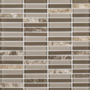 A beige / cream glass mosaic perfecta blend tile by Jeffrey Court.