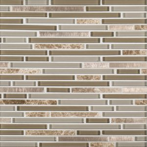 A beige / cream glass mosaic trifecta blend tile by Jeffrey Court.