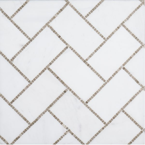 A beige / cream natural stone mosaic gapstow tile by Jeffrey Court.