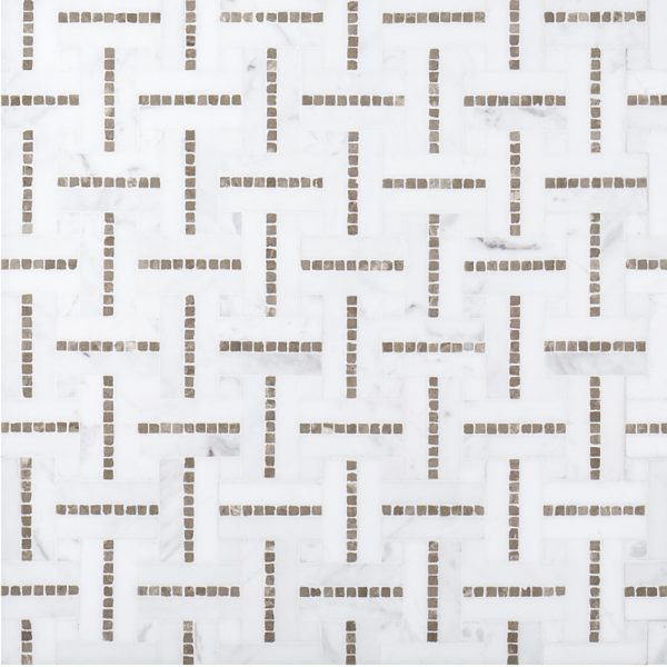 A beige / cream natural stone mosaic grand central tile by Jeffrey Court.