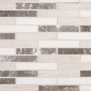 A beige / cream natural stone mosaic merge tile by Jeffrey Court.