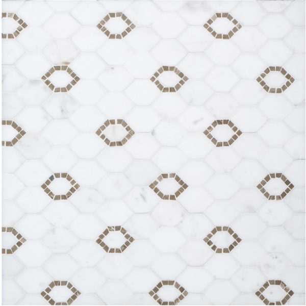 A beige / cream natural stone mosaic perry avenue tile by Jeffrey Court.