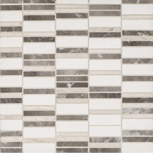 A beige / cream natural stone mosaic stax tile by Jeffrey Court.