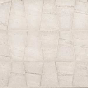 A beige / cream natural stone mosaic trax tile by Jeffrey Court.