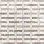 A beige / cream natural stone mosaic woven tile by Jeffrey Court.