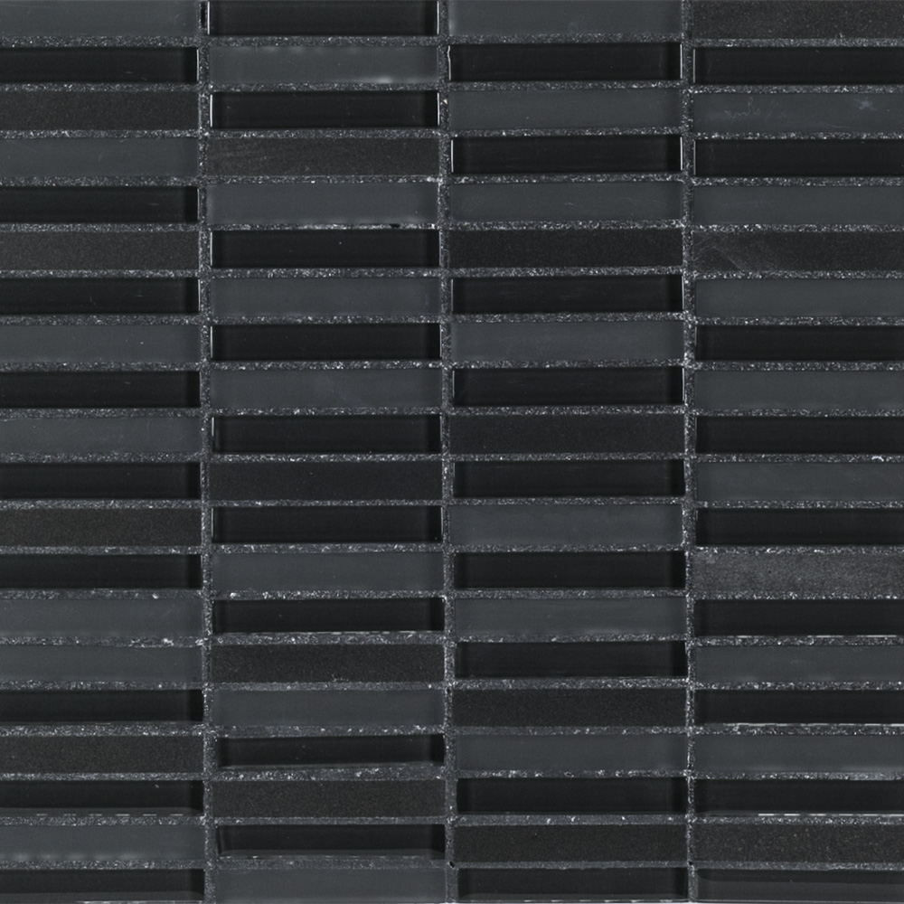 X natural stone perfecta blend black for Back painted glass tile