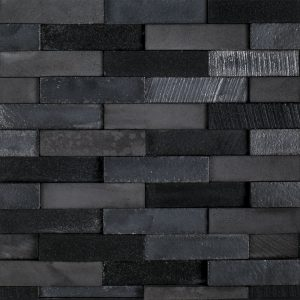 A black natural stone mosaic elevation brick tile by Jeffrey Court.