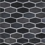 A black natural stone mosaic elongated hex tile by Jeffrey Court.