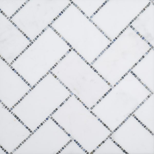A blue natural stone mosaic gapstow tile by Jeffrey Court.