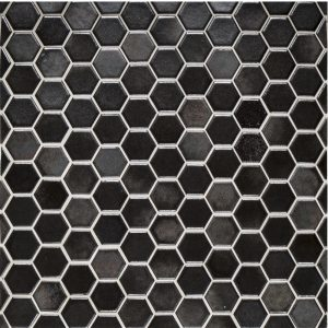 "A brown ceramic mosaic 1"" hexagon tile by Jeffrey Court."