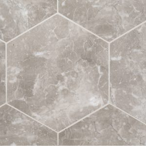 A brown natural stone hex field tile by Jeffrey Court.