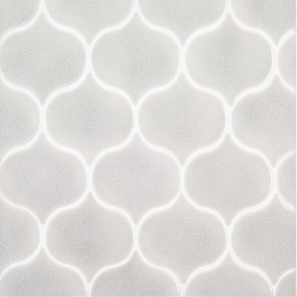 A grey ceramic mosaic nu oasis tile by Jeffrey Court.