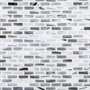 A grey glass mosaic industrie glass tile by Jeffrey Court.