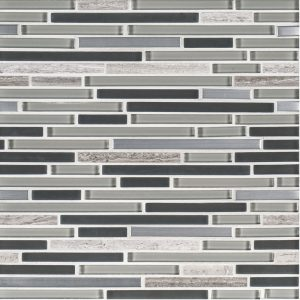 A grey glass mosaic trifecta blend tile by Jeffrey Court.