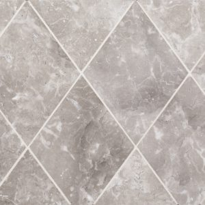 A grey natural stone diamond field tile by Jeffrey Court.