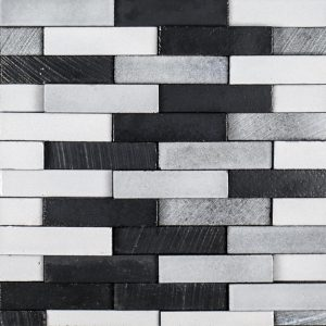 A grey natural stone mosaic elevation brick tile by Jeffrey Court.