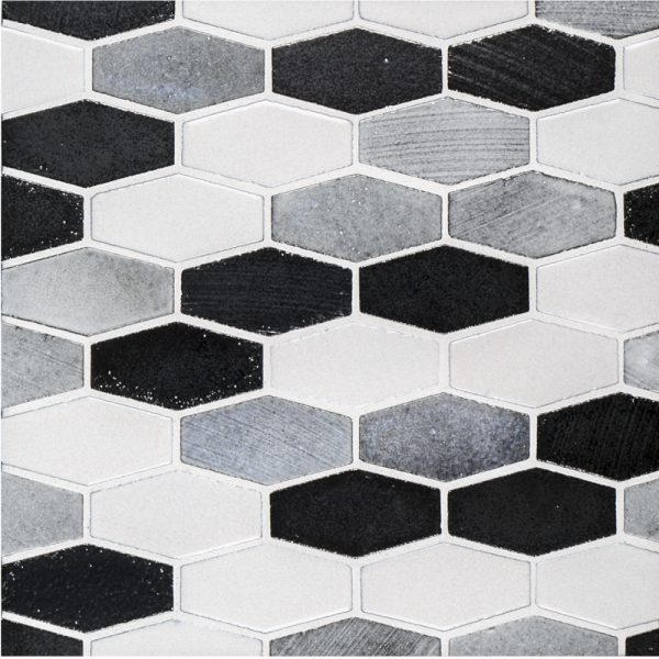 A grey natural stone mosaic elongated hex tile by Jeffrey Court.