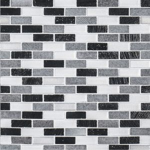 A grey natural stone mosaic mini brick tile by Jeffrey Court.