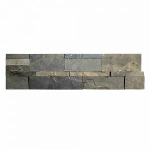 A grey natural stone field out corner tile by Jeffrey Court.