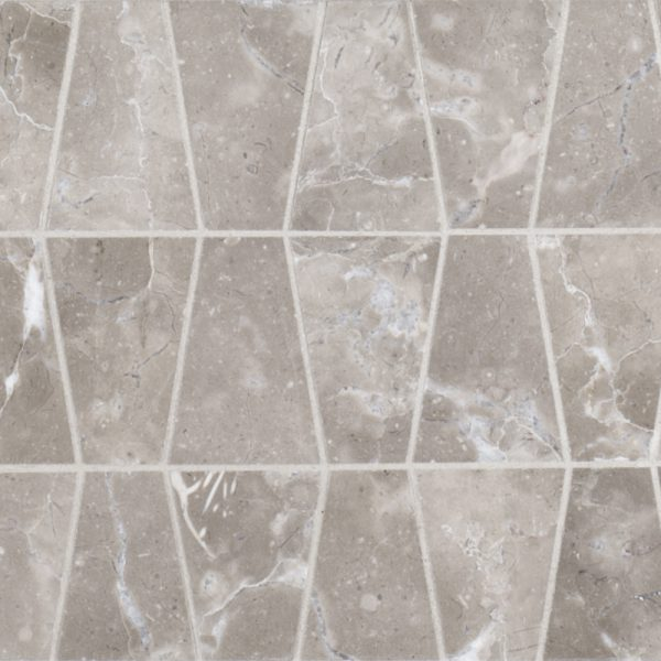 A grey natural stone mosaic trax tile by Jeffrey Court.