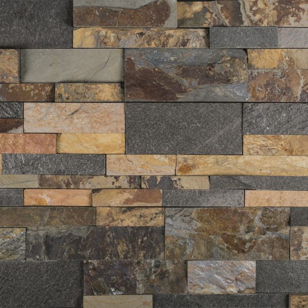 A multi-specialty natural stone field ledger panel tile by Jeffrey Court.