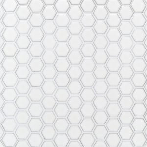 "A white ceramic mosaic 1"" hexagon tile by Jeffrey Court."