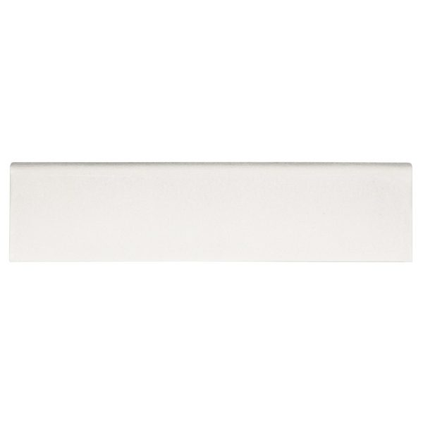 A white ceramic trim single bullnose tile by Jeffrey Court.
