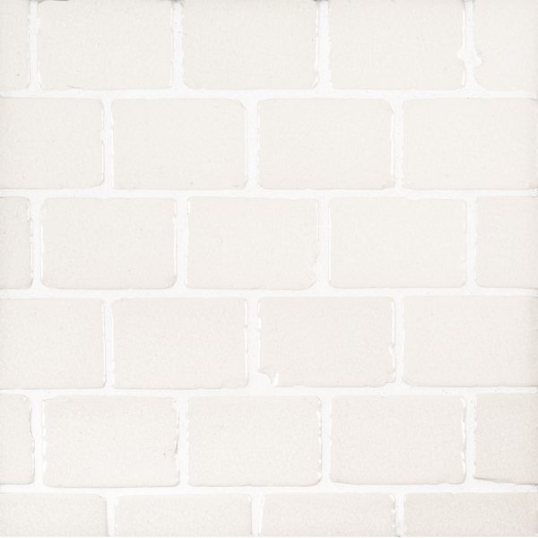 A white ceramic mosaic the canyons tile by Jeffrey Court.