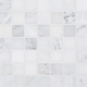 "A white natural stone mosaic 2"" square mosaic tile by Jeffrey Court."