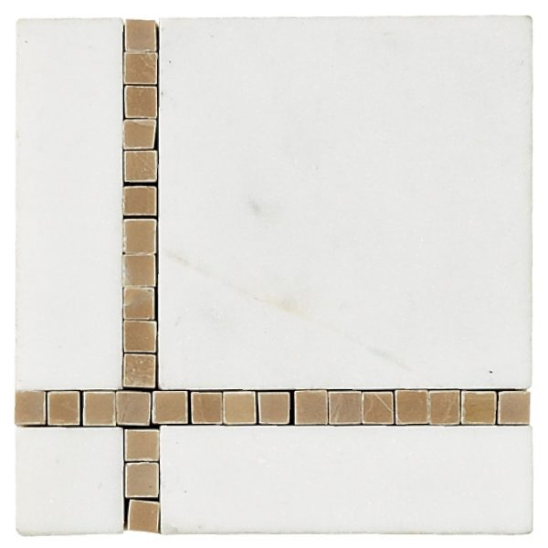 A white natural stone border/listello broadway corner tile by Jeffrey Court.