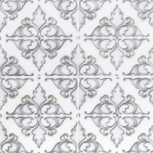 A white natural stone decorative element hindu temple tile by Jeffrey Court.