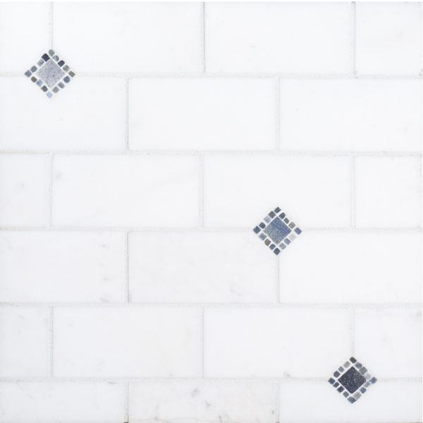 A white natural stone mosaic lexington tile by Jeffrey Court.