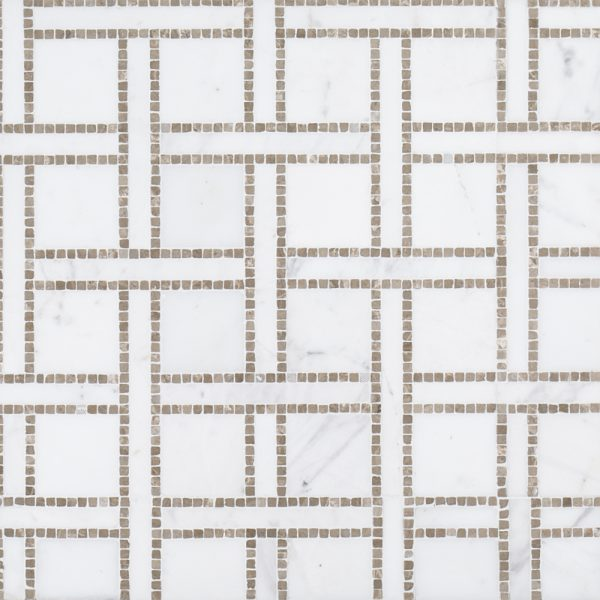 A white natural stone mosaic terrace on the park tile by Jeffrey Court.