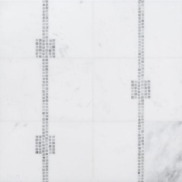 A white natural stone mosaic times square tile by Jeffrey Court.